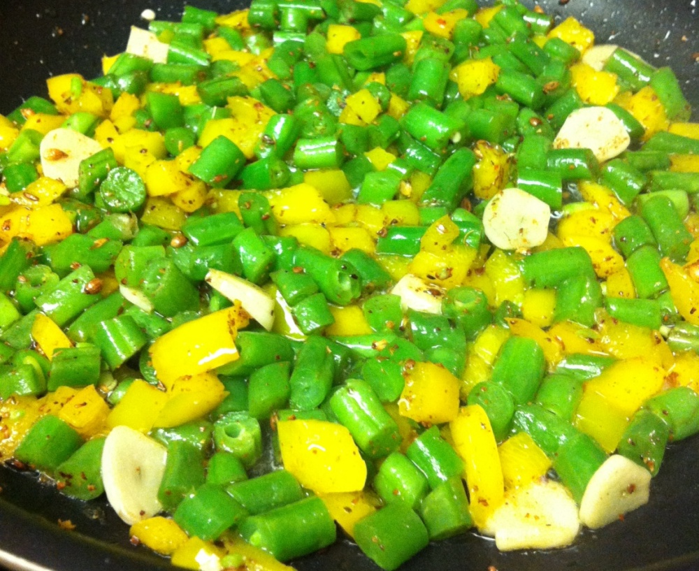 green beens and yellow pepper