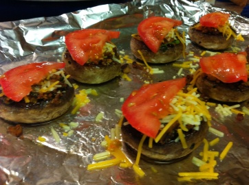 mushrooms cheese and tomato